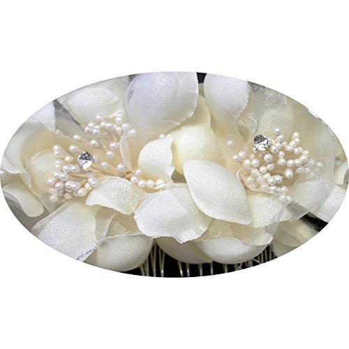 Miya® 1Stück mega Glamour handgemacht Haarkamm Steckkamm mit sanft Tüll Blumen Ivory Weiß aus Spitzen Lace, Perle und Kristall, Braut Schmuck Hochzeit Jugendweihe Braut Haarschmuck -