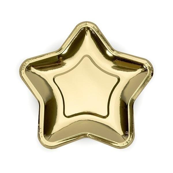 """Party Hochzeit Pappteller """"Sterne"""" gold"""