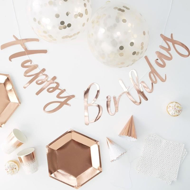 "Partybox ""Happy Birthday"" - rosegold (70 Teile)"