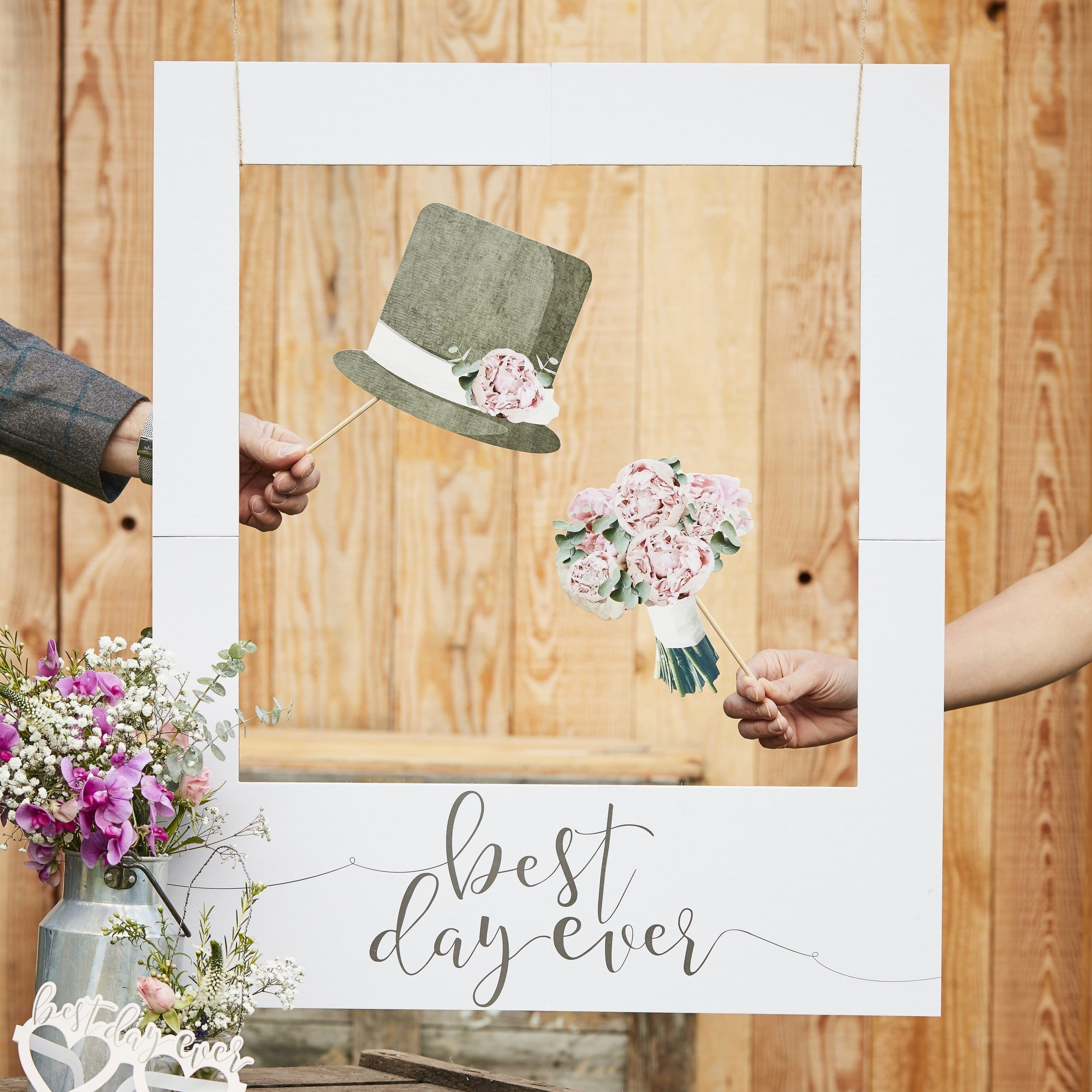 """Photo Booth Polaroid Rahmen """"Best day ever"""" weiß"""