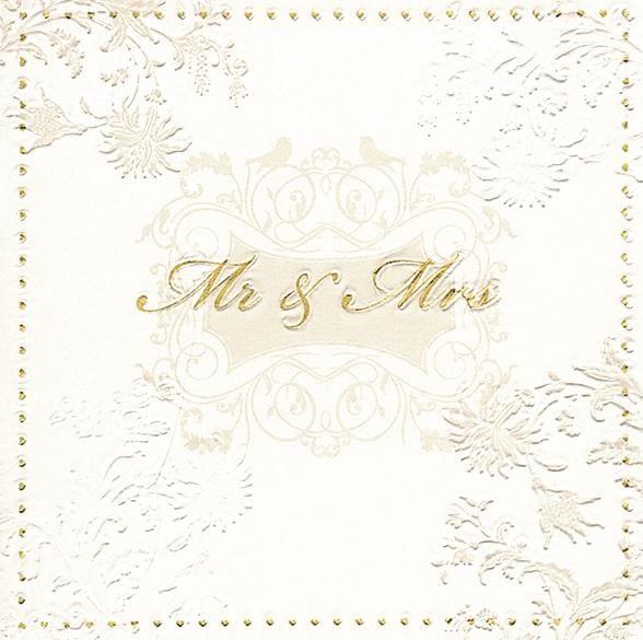 """Prägeserviette """"Mr. & Mrs."""" Gold"""