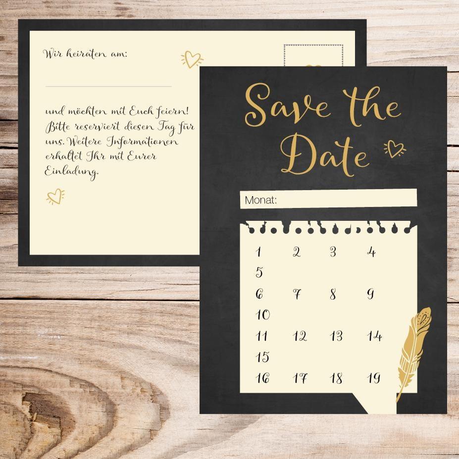 Save the Date Karte - Feder (10 Stück)