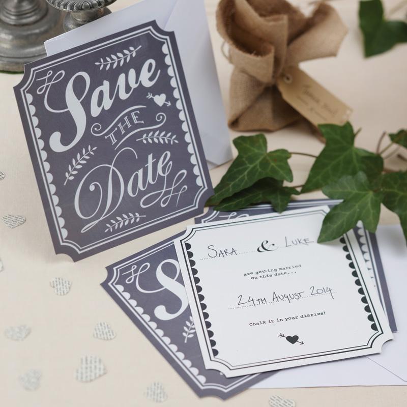 Save The Date Karten - Vintage Affair (10 Stück) - grau