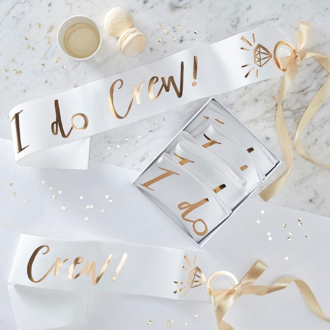 """Schärpe """"I Do Crew"""" gold (6 Stück)"""
