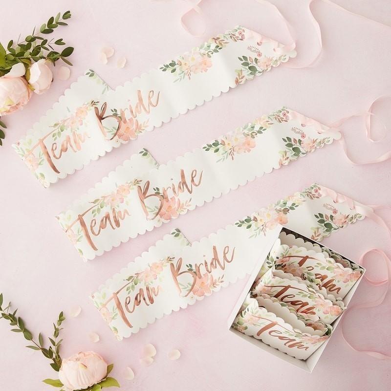 Schärpe Team Bride floral (6 Stück)