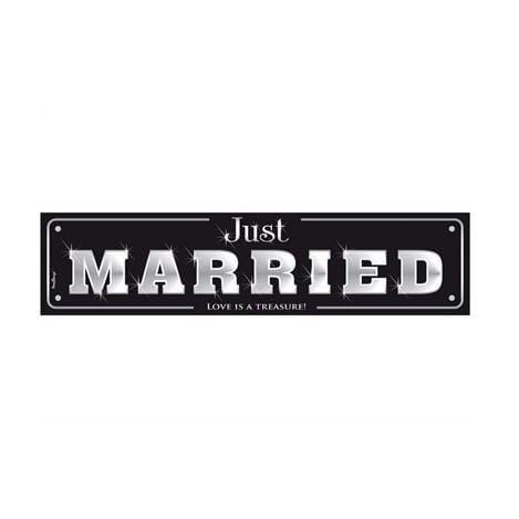 """Schild """"Just Married"""" - schwarz"""