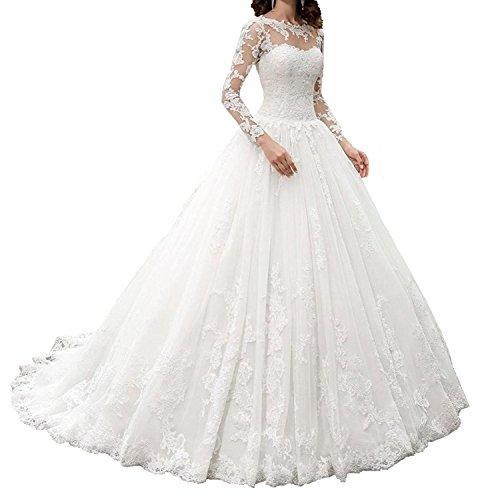 HotGirls langes Brautkleid mit Spitze (38, Weiß)