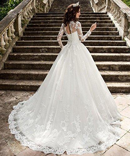HotGirls Spitze Appliques lange HochzeitsKleider mit Hülsen schnüren sich oben Brautkleid (38, Weiß) - 2