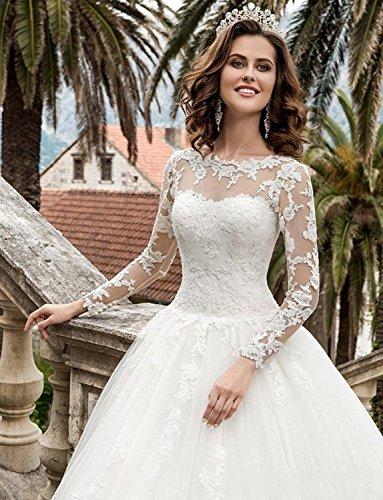 HotGirls Spitze Appliques lange HochzeitsKleider mit Hülsen schnüren sich oben Brautkleid (38, Weiß) - 3