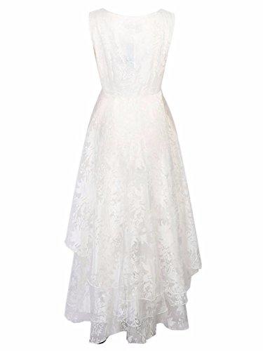 BIUBIU Damen Rundhals Cocktailkleid Spitze Ballkleid Kleid Partykleid Weiss XL - 2