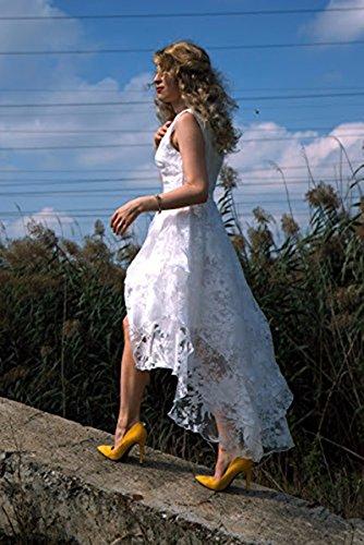 BIUBIU Damen Rundhals Cocktailkleid Spitze Ballkleid Kleid Partykleid Weiss XL - 4