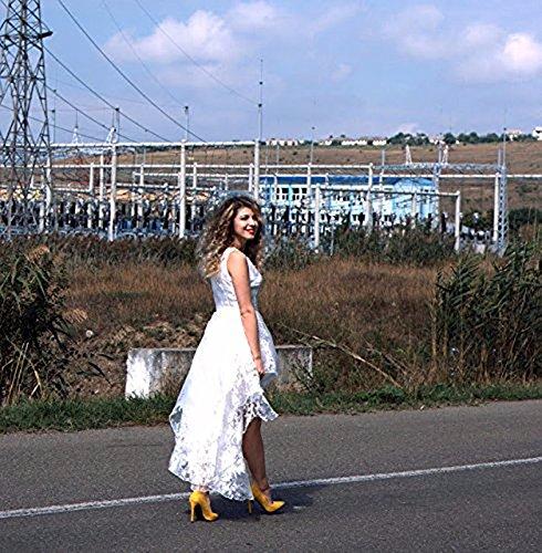 BIUBIU Damen Rundhals Cocktailkleid Spitze Ballkleid Kleid Partykleid Weiss XL - 5