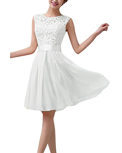 ZANZEA  Ärmelloses Brautkleid mit Spitze Weiß EU 40/US 8