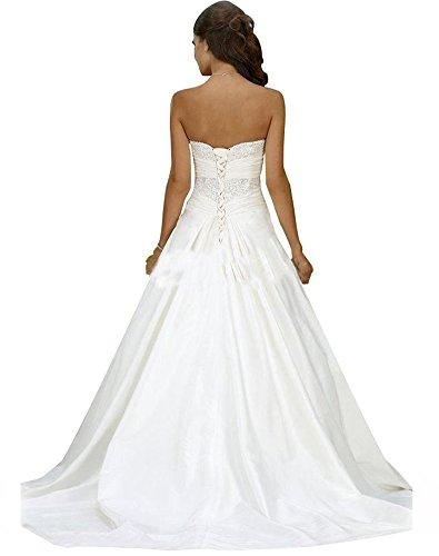 Erosebridal Neu Weiß Satin Brautkleid Hochzeitskleid Abendkleid Ballkleid DE38 - 2