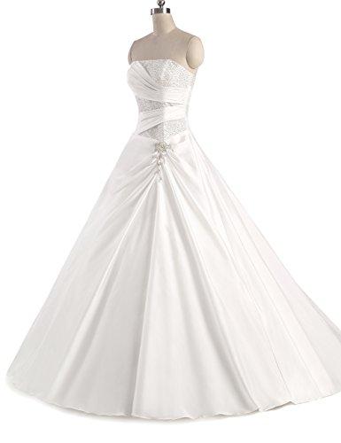 Erosebridal Neu Weiß Satin Brautkleid Hochzeitskleid Abendkleid Ballkleid DE38 - 5