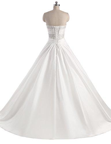Erosebridal Neu Weiß Satin Brautkleid Hochzeitskleid Abendkleid Ballkleid DE38 - 6