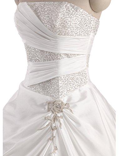 Erosebridal Neu Weiß Satin Brautkleid Hochzeitskleid Abendkleid Ballkleid DE38 - 7
