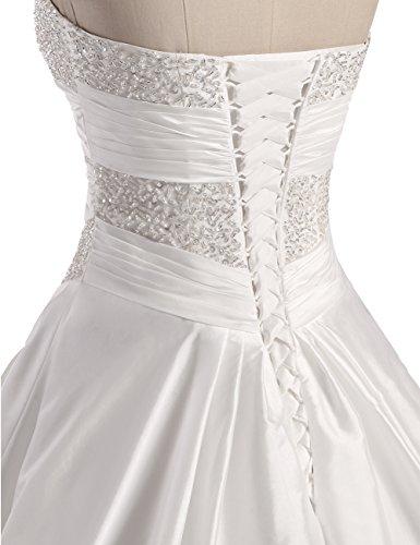 Erosebridal Neu Weiß Satin Brautkleid Hochzeitskleid Abendkleid Ballkleid DE38 - 8