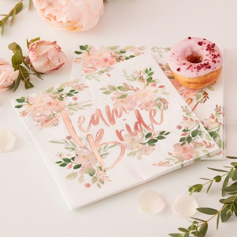 Servietten Team Bride floral