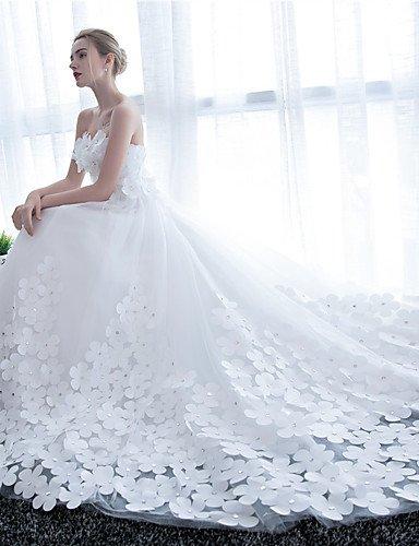 Heart&M Hochzeitskleid mit Kathedralen Schleppe, trägerlos mit Blume