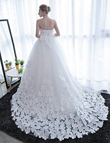 Heart&M Ballkleid Hochzeitskleid Kathedralen Schleppe Trägerlos Satin Tüll mit Blume , white - 2