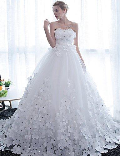 Heart&M Ballkleid Hochzeitskleid Kathedralen Schleppe Trägerlos Satin Tüll mit Blume , white - 3