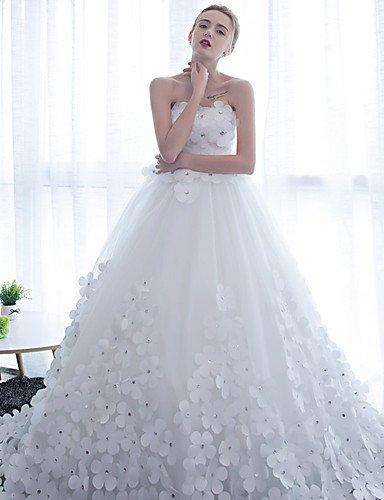 Heart&M Ballkleid Hochzeitskleid Kathedralen Schleppe Trägerlos Satin Tüll mit Blume , white - 4