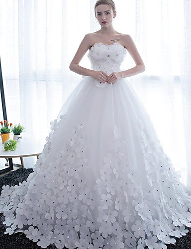 Heart&M Ballkleid Hochzeitskleid Kathedralen Schleppe Trägerlos Satin Tüll mit Blume , white - 5