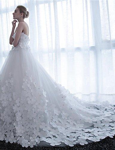 Heart&M Ballkleid Hochzeitskleid Kathedralen Schleppe Trägerlos Satin Tüll mit Blume , white - 6