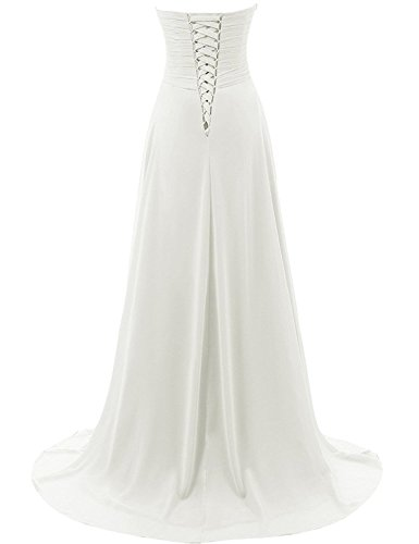 JAEDEN Trägerlos Strand Hochzeitskleider Einfach Brautkleid Chiffon Kleid - 2