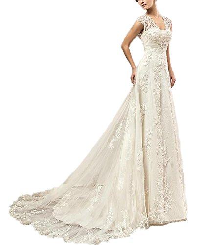 CoCogirls Hochzeitskleid mit Korsett (44, Weiß)