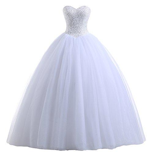 Beautyprom Brautkleid mit Herzausschitt (42, Weiß)