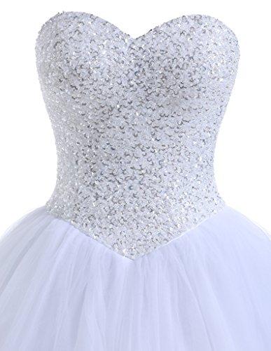 Beautyprom Frauen Ballkleid Brautkleider (42, Weiß) - 2
