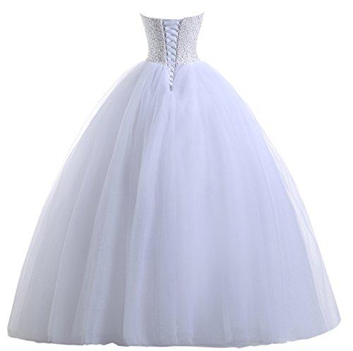 Beautyprom Frauen Ballkleid Brautkleider (42, Weiß) - 3