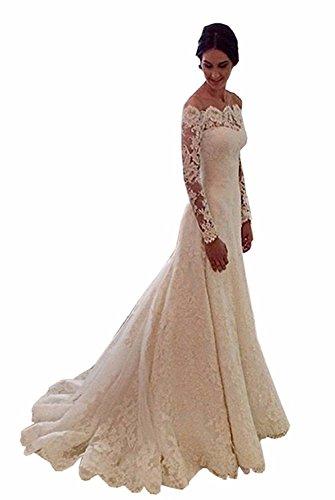 Cloverbridal Hochzeitskleid, A Linie, Lange Ärmel, Spitze (36, Elfenbein)