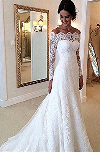 Cloverbridal Damen Hochzeitskleider A Linie Elegant Lange Ärmel Spitze Von der Schulter Brautkleider mit Zug (36, Elfenbein) - 2