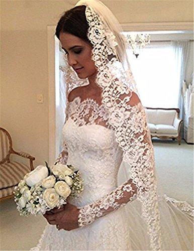 Cloverbridal Damen Hochzeitskleider A Linie Elegant Lange Ärmel Spitze Von der Schulter Brautkleider mit Zug (36, Elfenbein) - 3