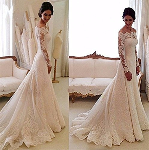 Cloverbridal Damen Hochzeitskleider A Linie Elegant Lange Ärmel Spitze Von der Schulter Brautkleider mit Zug (36, Elfenbein) - 4