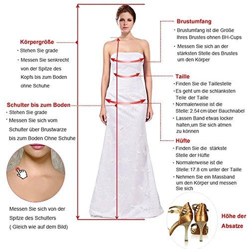 Cloverbridal Damen Hochzeitskleider A Linie Elegant Lange Ärmel Spitze Von der Schulter Brautkleider mit Zug (36, Elfenbein) - 6