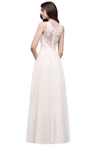 Elegantes langes Spitzen-Swing Brautkleid mit Applique, Beige, 42