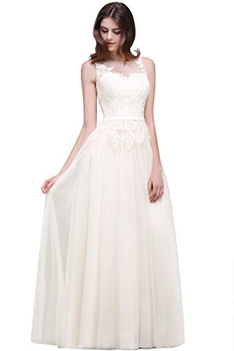 Damen Elegant Spitzen Swing Brautjungfernkleid mit Applique lang Beige 42 - 2
