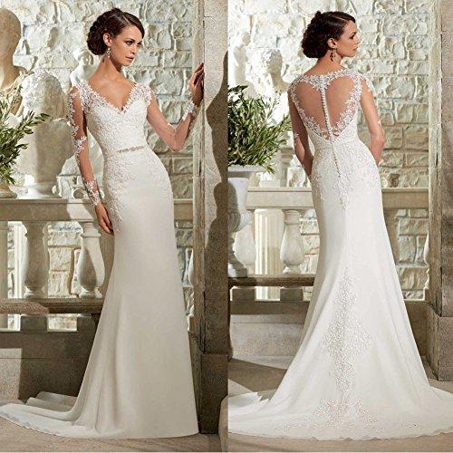WeWind Damen Langarm Brautkleid V-Ausschnitt Hochzeitskleid Spitzen und Tüll Brautmode Schleppe Etui (S) - 3