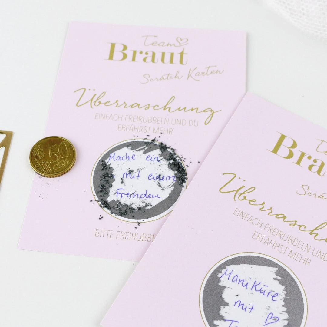 Team Braut JGA Spiel mit Rubbelkarten