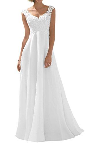 Milano Bride Elegant V-Ausschnitt Spitze Chiffon Brautkleid