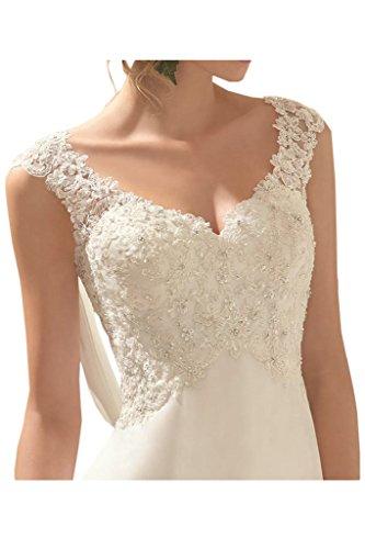 Milano Bride Elegant V-Ausschnitt Spitze Chiffon Hochzeitskleider Brautkleider Brautmode Damen Festkleider Rueckenfrei -40-Weiss - 3