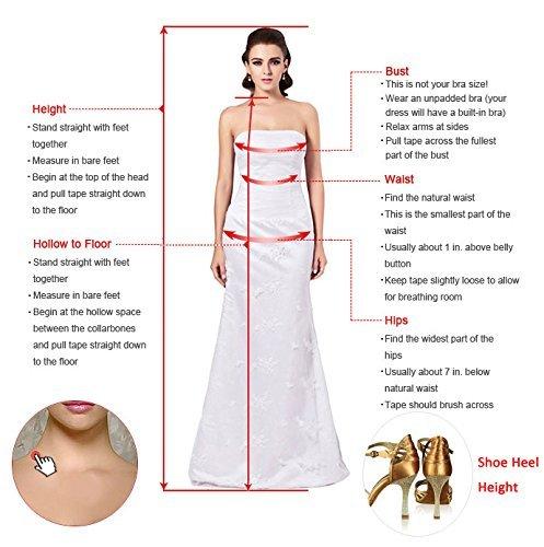 Milano Bride Elegant V-Ausschnitt Spitze Chiffon Hochzeitskleider Brautkleider Brautmode Damen Festkleider Rueckenfrei -40-Weiss - 4