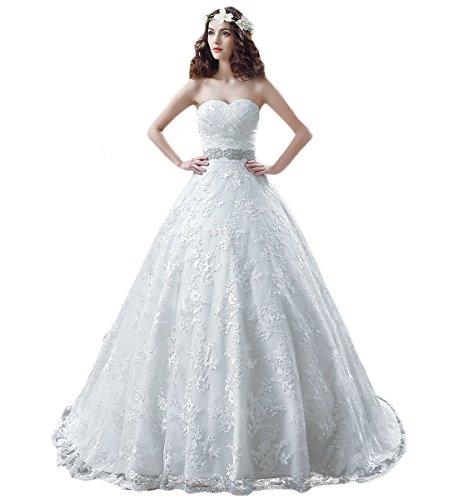 KekeHouse® elegantes Hochzeitskleid, bodenlang, A-Linie,  Weiß 40