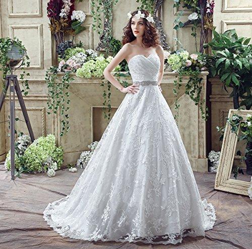 KekeHouse® Herzausschnitt Bandeau Geblümt Spitze mit Kristall Hochzeitskleid Bodenlang A-Linie Elegant Schmuck Hochzeitskleid Weiß 40 - 3