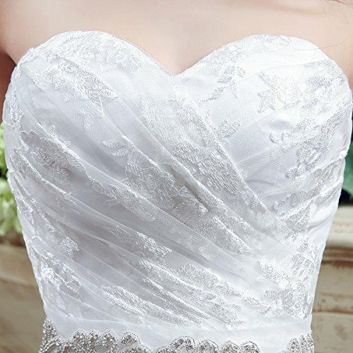 KekeHouse® Herzausschnitt Bandeau Geblümt Spitze mit Kristall Hochzeitskleid Bodenlang A-Linie Elegant Schmuck Hochzeitskleid Weiß 40 - 4