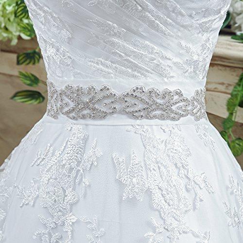 KekeHouse® Herzausschnitt Bandeau Geblümt Spitze mit Kristall Hochzeitskleid Bodenlang A-Linie Elegant Schmuck Hochzeitskleid Weiß 40 - 5